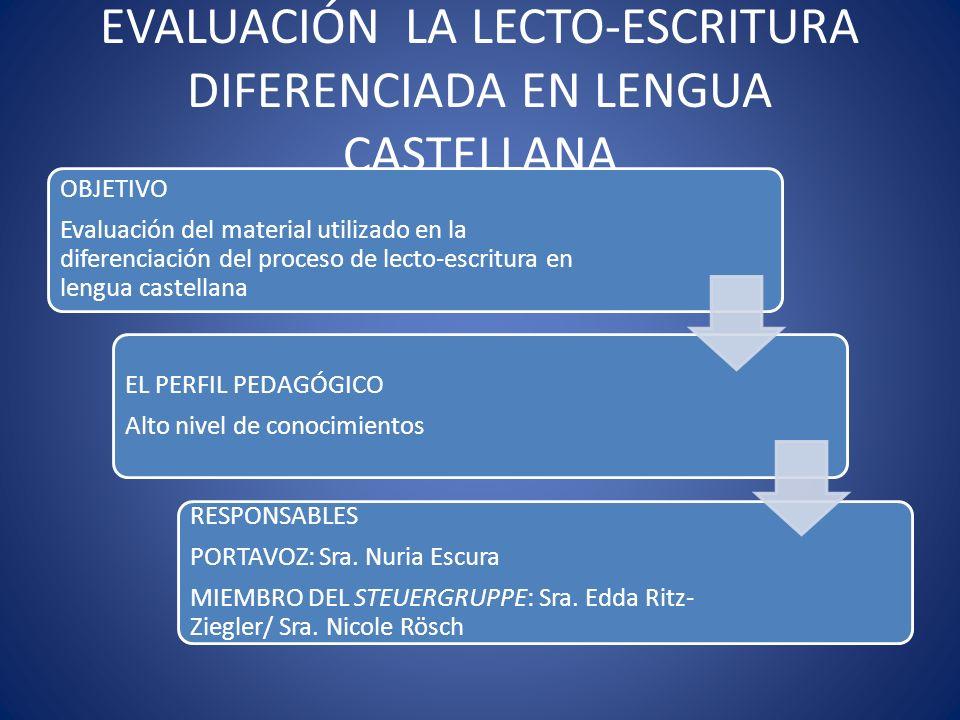 EVALUACIÓN LA LECTO-ESCRITURA DIFERENCIADA EN LENGUA CASTELLANA