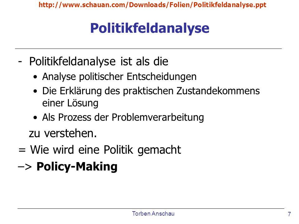 Politikfeldanalyse Politikfeldanalyse ist als die zu verstehen.