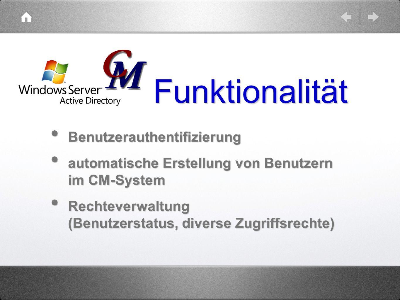 Funktionalität Benutzerauthentifizierung