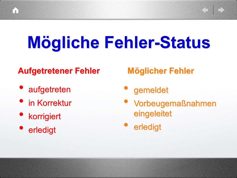 Mögliche Fehler-Status