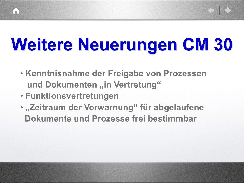 """Weitere Neuerungen CM 30 Kenntnisnahme der Freigabe von Prozessen und Dokumenten """"in Vertretung"""