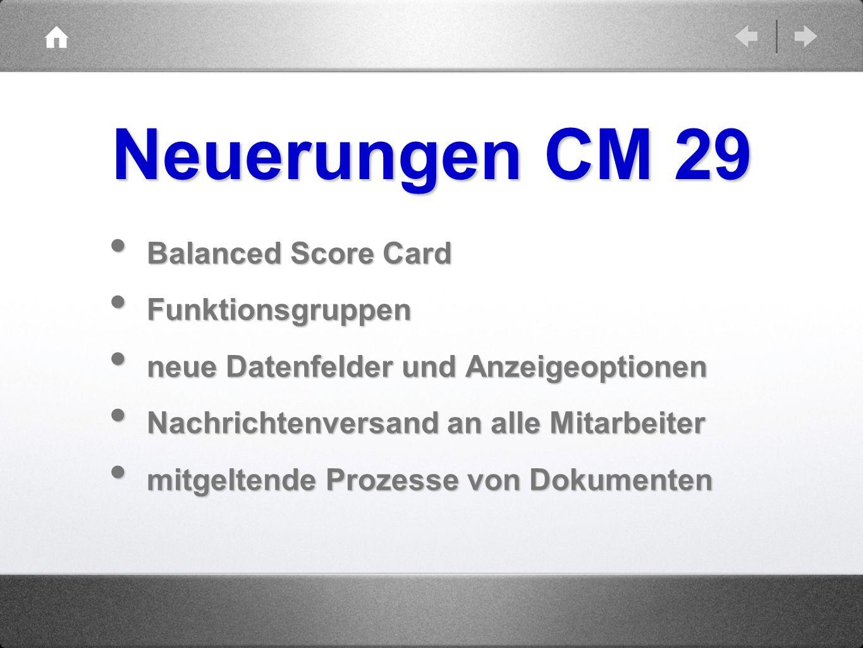 Neuerungen CM 29 Balanced Score Card Funktionsgruppen