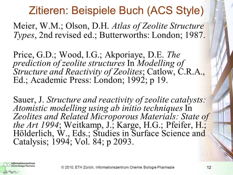 Zitieren: Beispiele Buch (ACS Style)