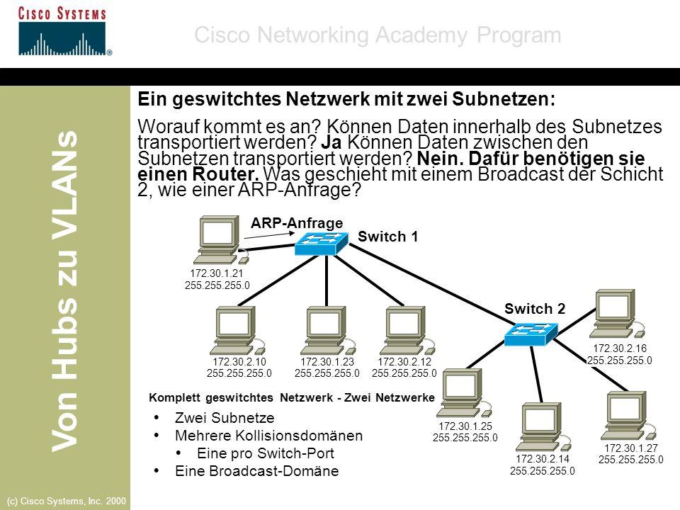 Ein geswitchtes Netzwerk mit zwei Subnetzen: