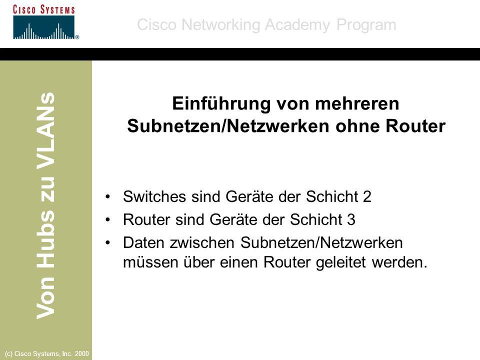 Einführung von mehreren Subnetzen/Netzwerken ohne Router