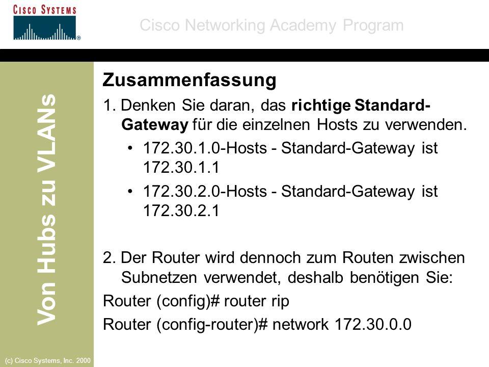 Zusammenfassung 1. Denken Sie daran, das richtige Standard-Gateway für die einzelnen Hosts zu verwenden.