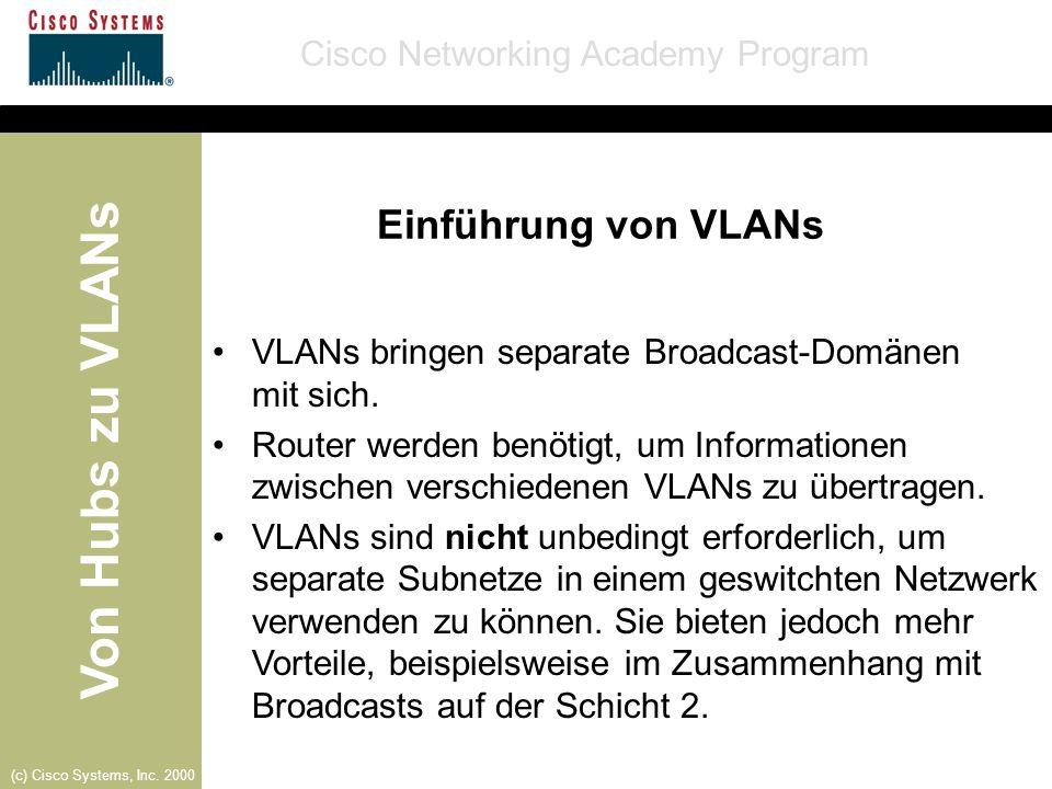 Einführung von VLANs VLANs bringen separate Broadcast-Domänen mit sich.