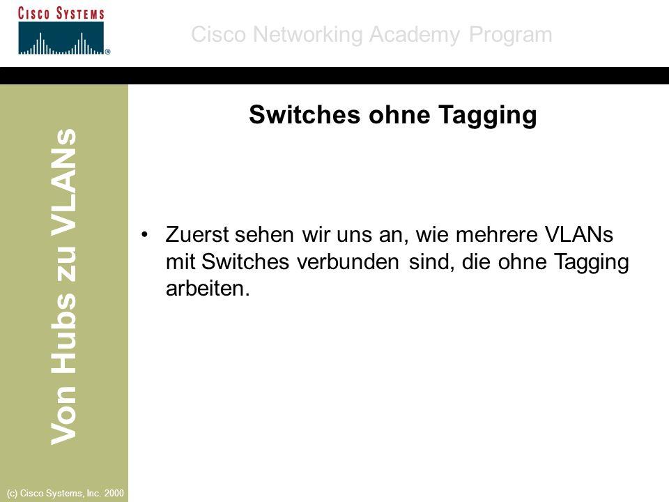 Switches ohne Tagging Zuerst sehen wir uns an, wie mehrere VLANs mit Switches verbunden sind, die ohne Tagging arbeiten.