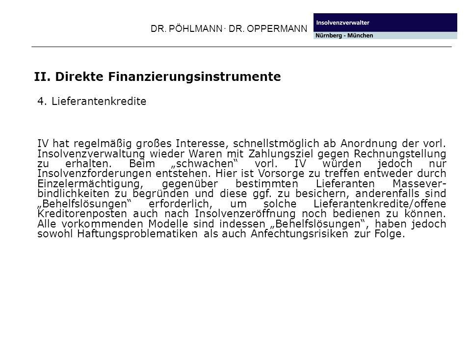 II. Direkte Finanzierungsinstrumente