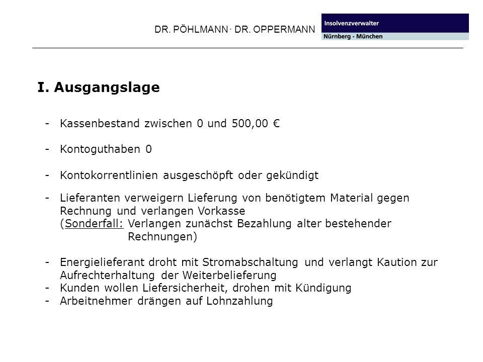 I. Ausgangslage Kassenbestand zwischen 0 und 500,00 € Kontoguthaben 0