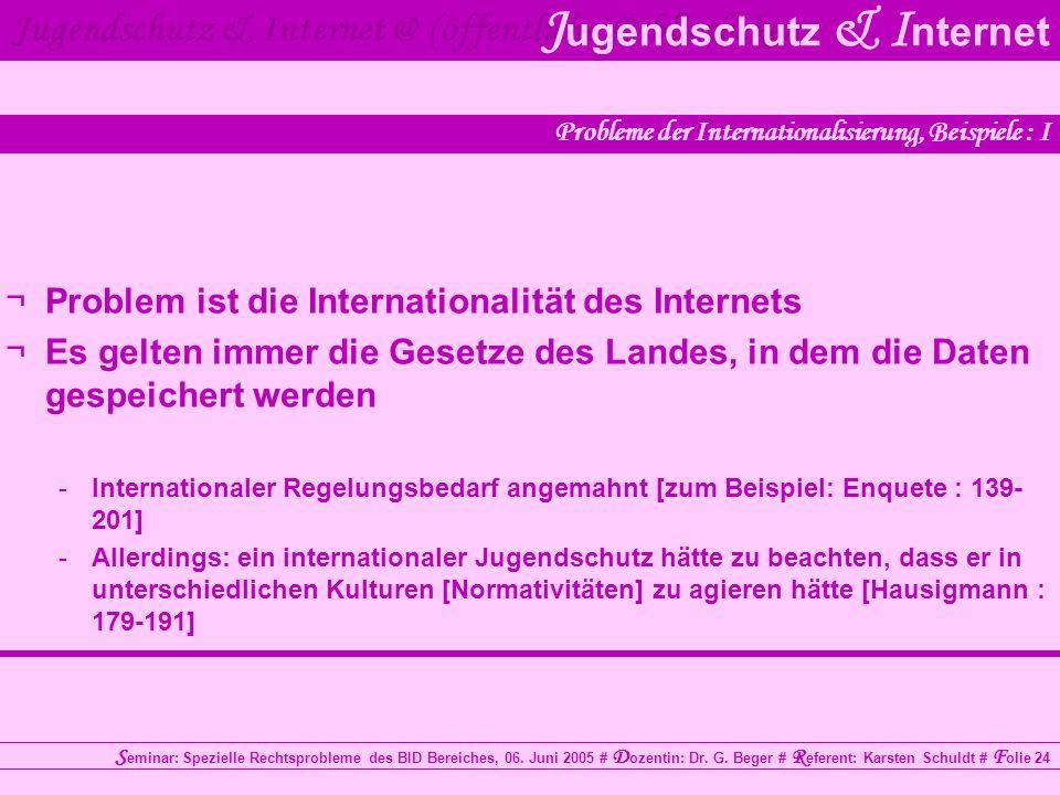 Probleme der Internationalisierung, Beispiele : I