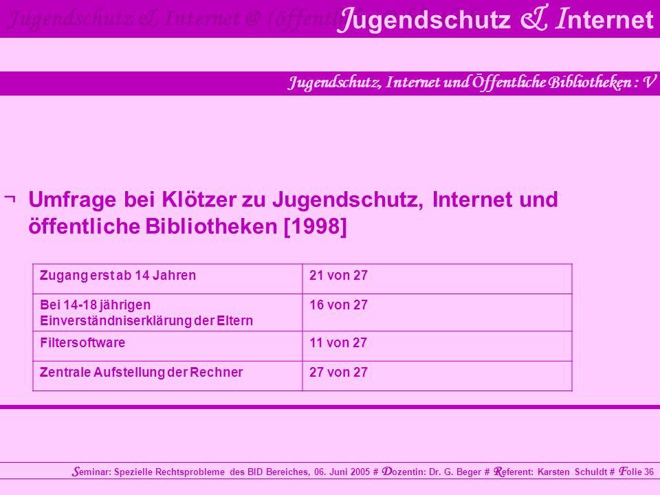 Jugendschutz, Internet und Öffentliche Bibliotheken : V