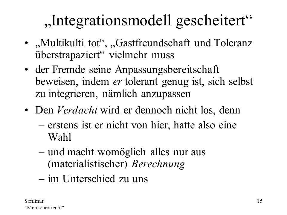 """""""Integrationsmodell gescheitert"""