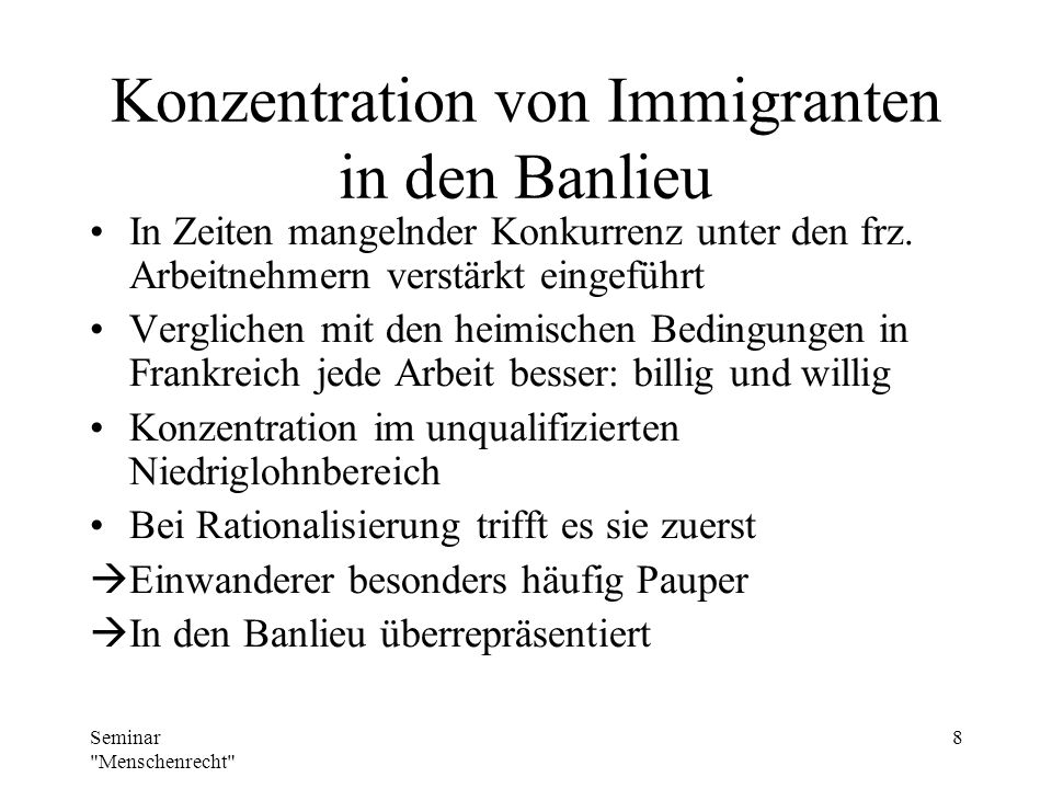 Konzentration von Immigranten in den Banlieu