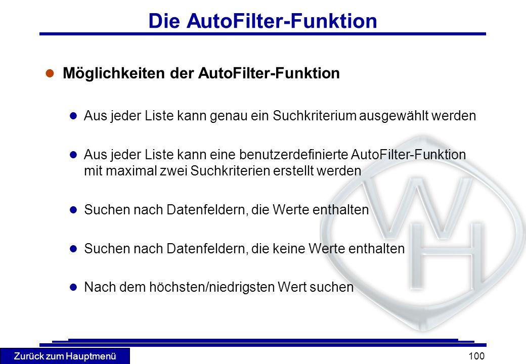 Die AutoFilter-Funktion