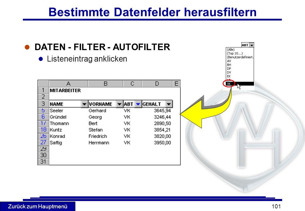 Bestimmte Datenfelder herausfiltern