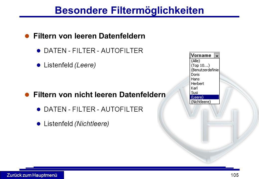 Besondere Filtermöglichkeiten