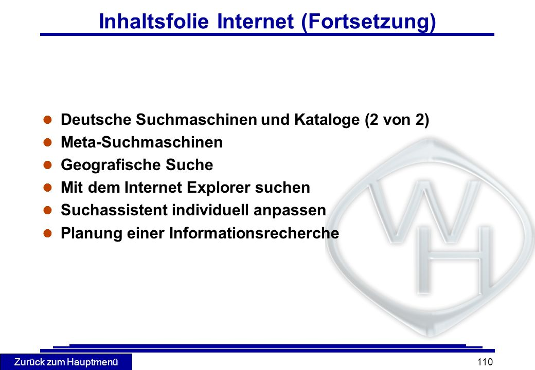 Inhaltsfolie Internet (Fortsetzung)