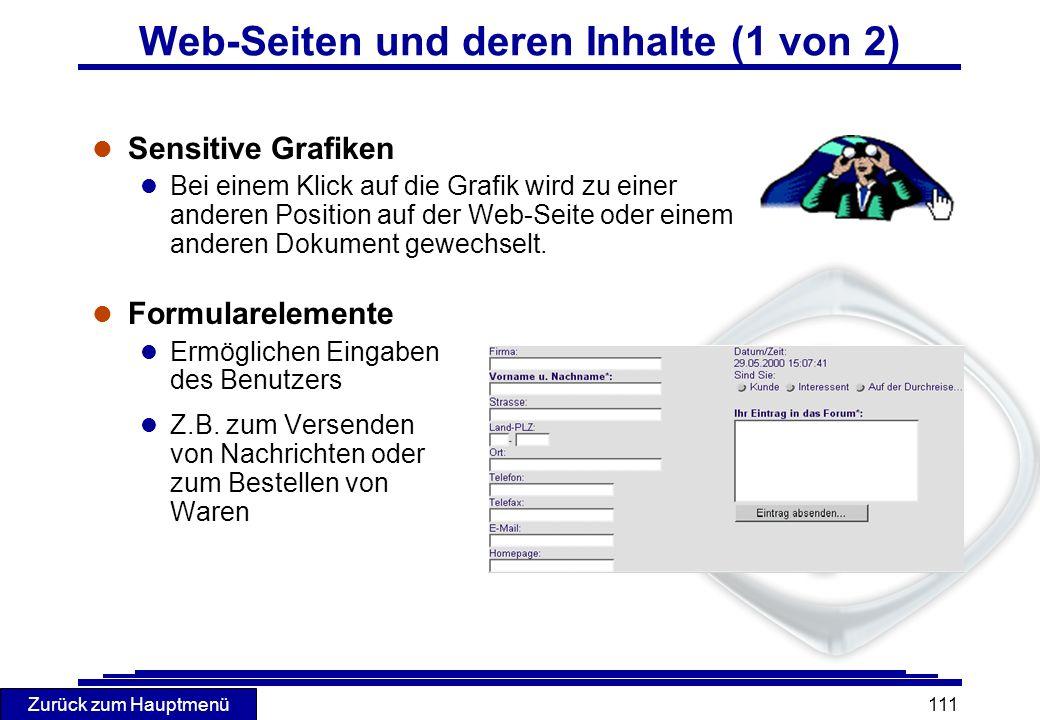 Web-Seiten und deren Inhalte (1 von 2)