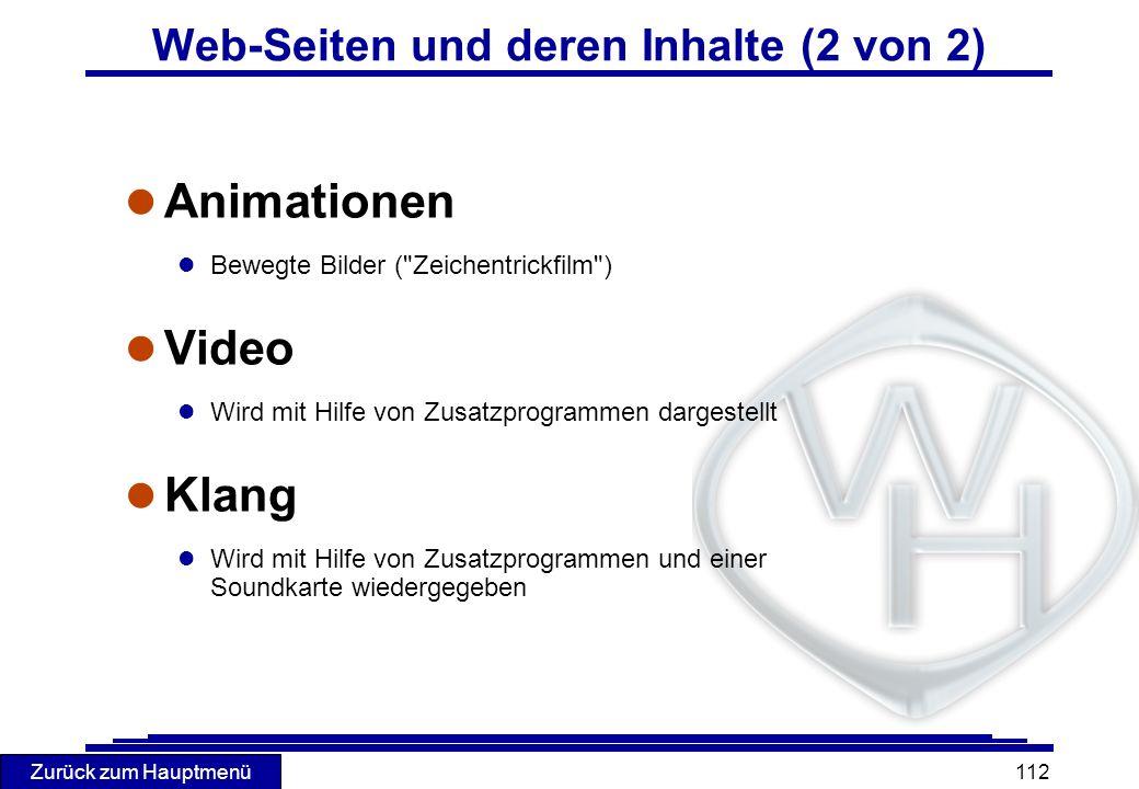 Web-Seiten und deren Inhalte (2 von 2)