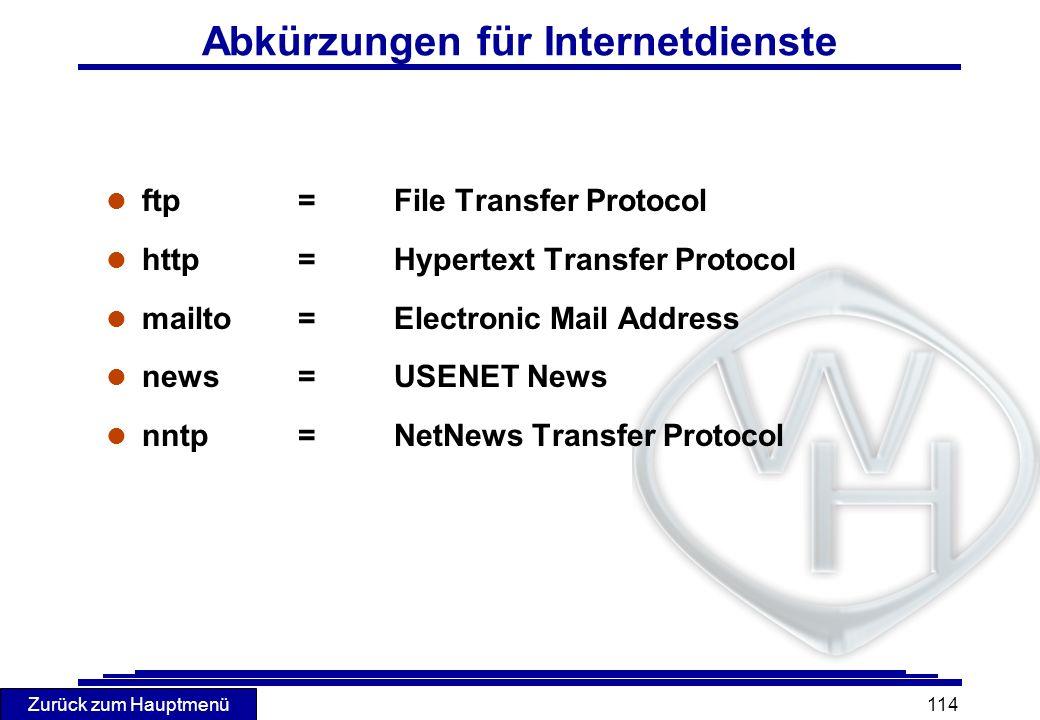Abkürzungen für Internetdienste