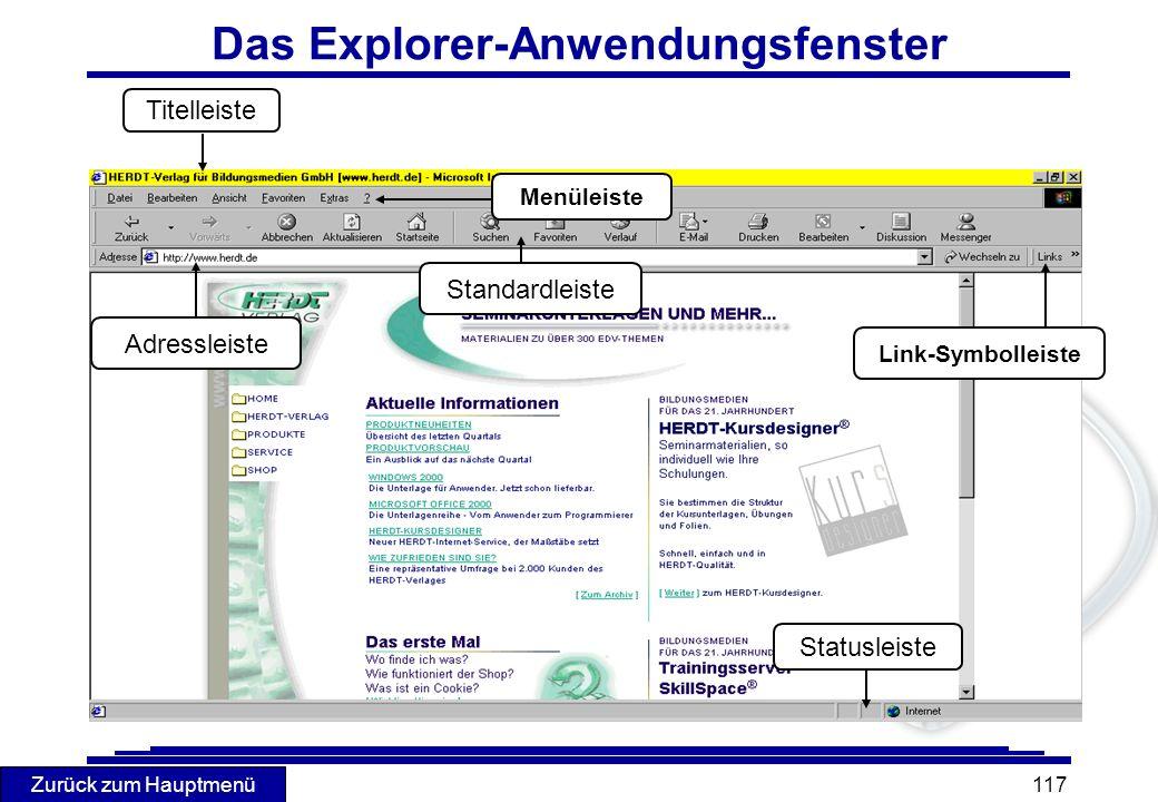 Das Explorer-Anwendungsfenster