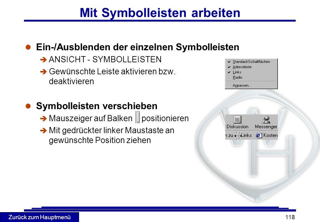 Mit Symbolleisten arbeiten