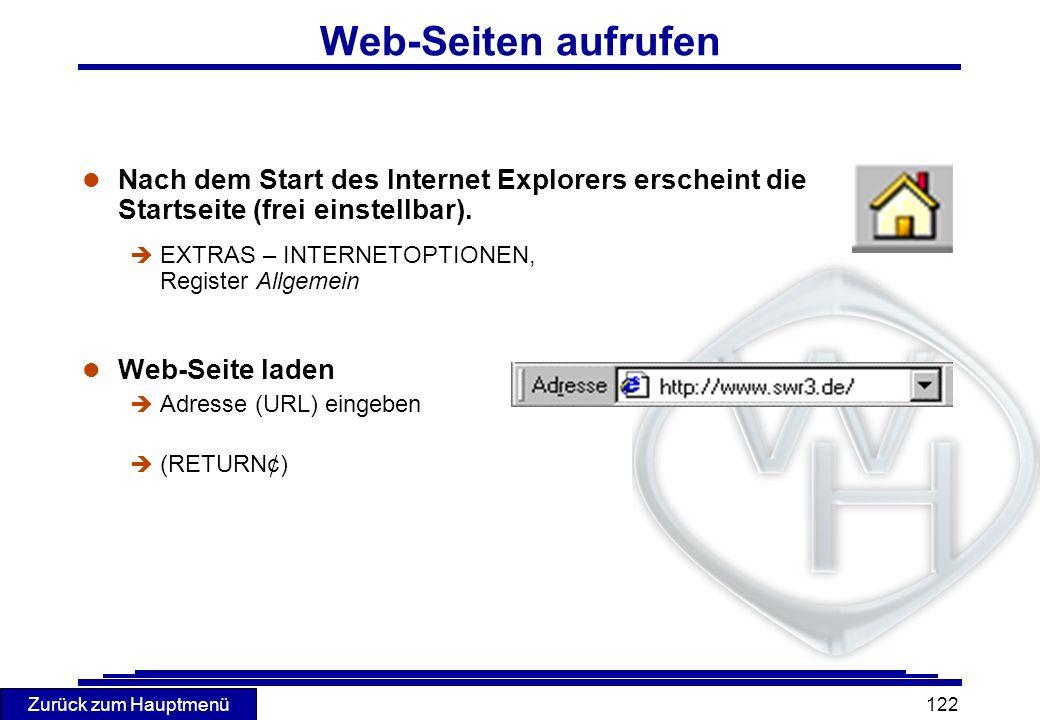 Web-Seiten aufrufen Nach dem Start des Internet Explorers erscheint die Startseite (frei einstellbar).
