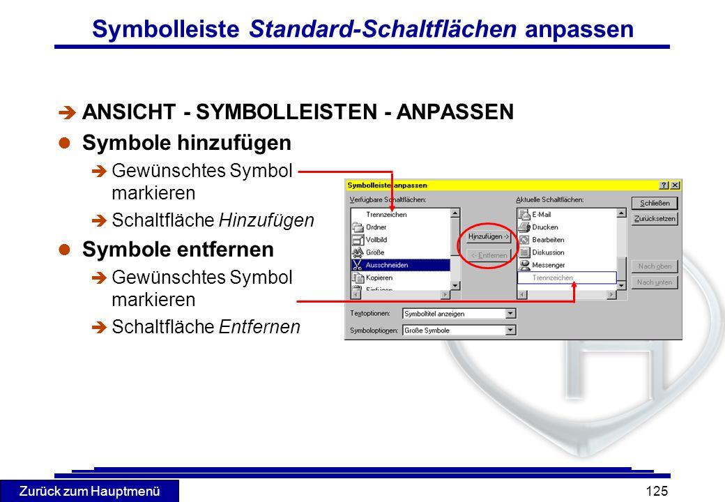 Symbolleiste Standard-Schaltflächen anpassen