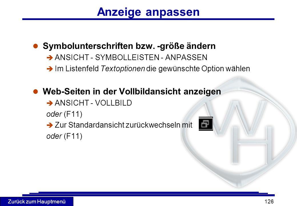 Anzeige anpassen Symbolunterschriften bzw. -größe ändern