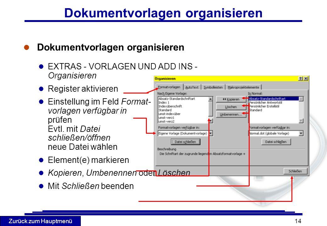 Dokumentvorlagen organisieren