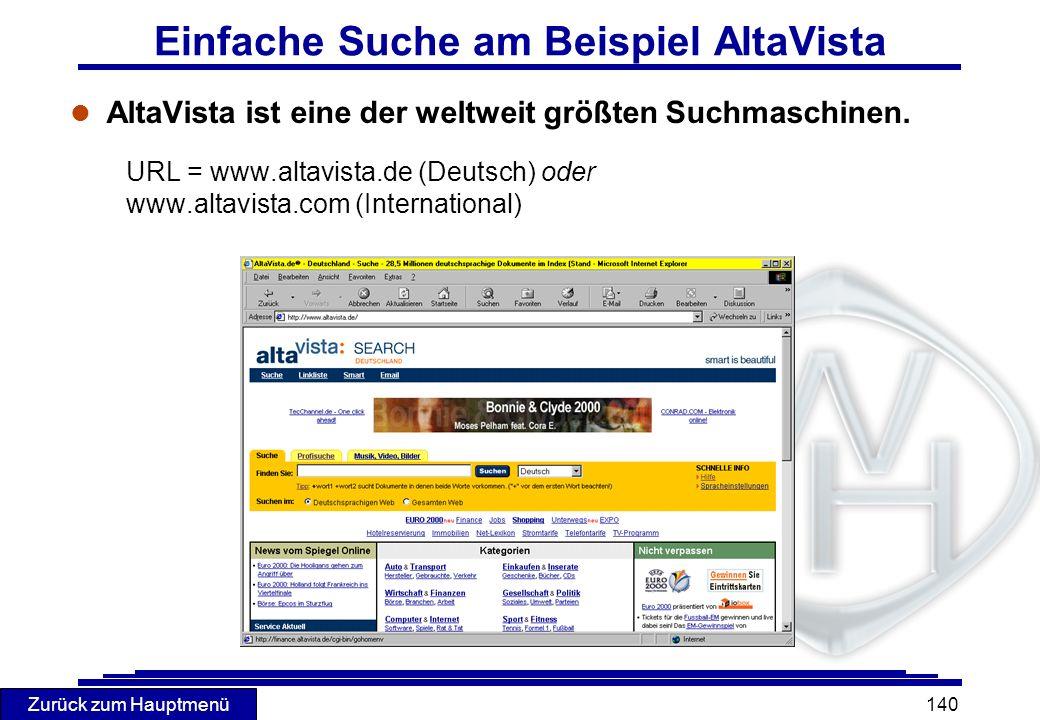 Einfache Suche am Beispiel AltaVista