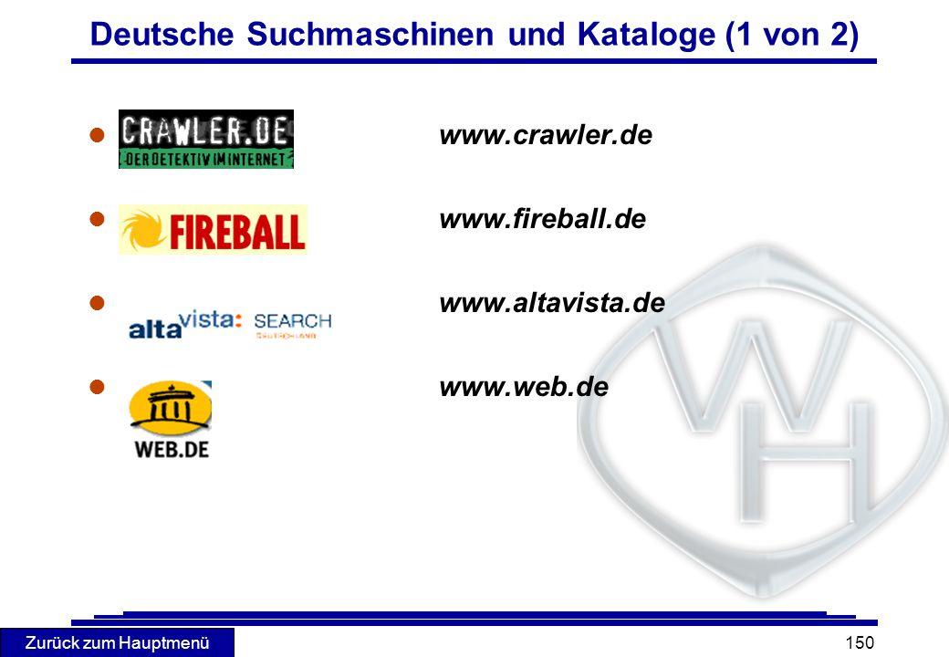 Deutsche Suchmaschinen und Kataloge (1 von 2)
