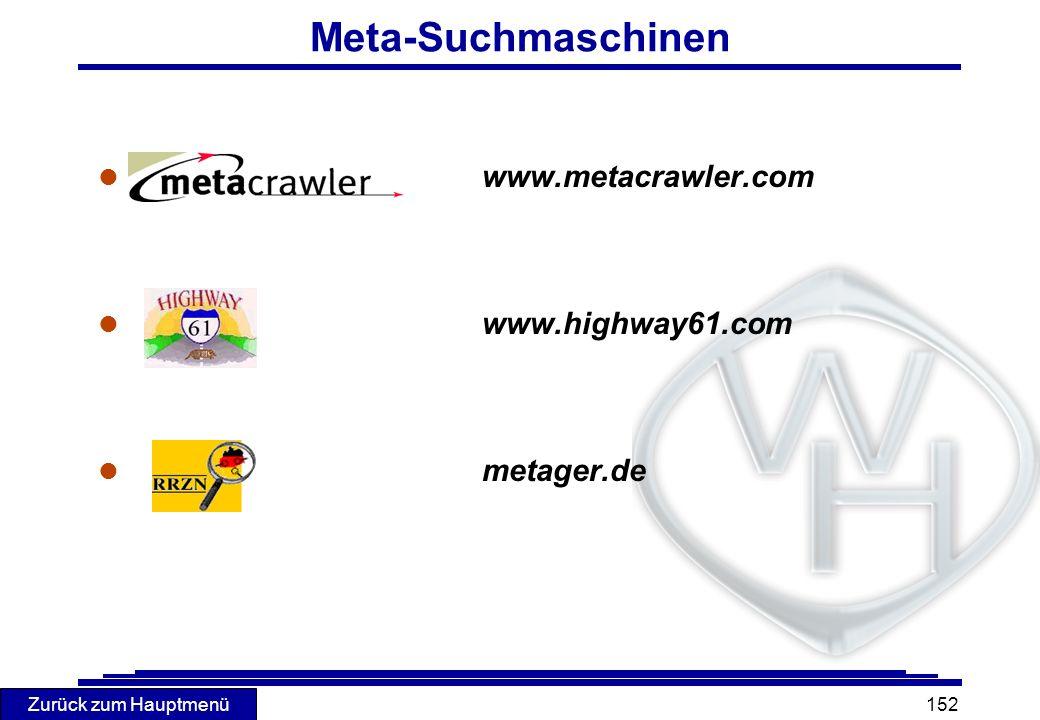 Meta-Suchmaschinen www.metacrawler.com www.highway61.com metager.de