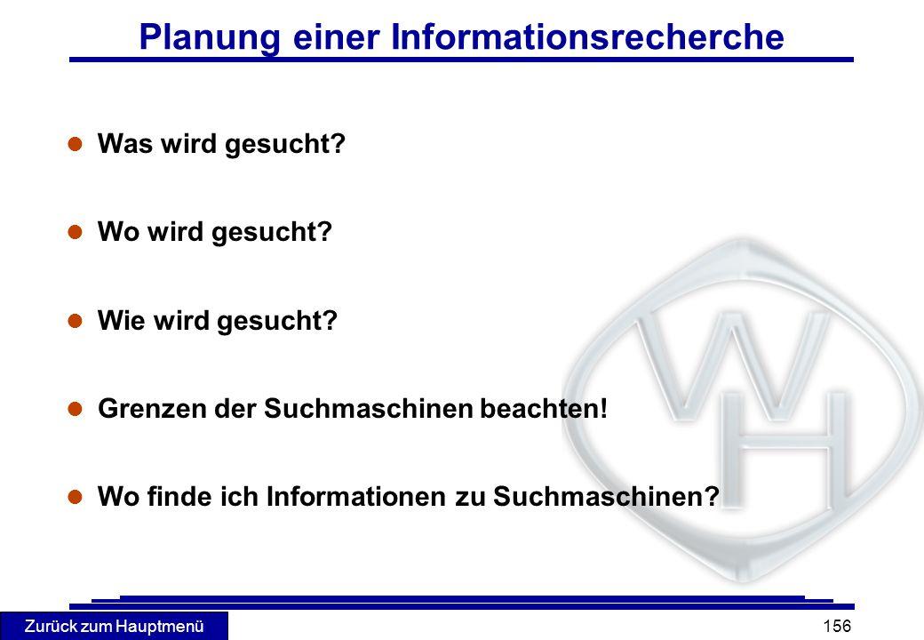 Planung einer Informationsrecherche