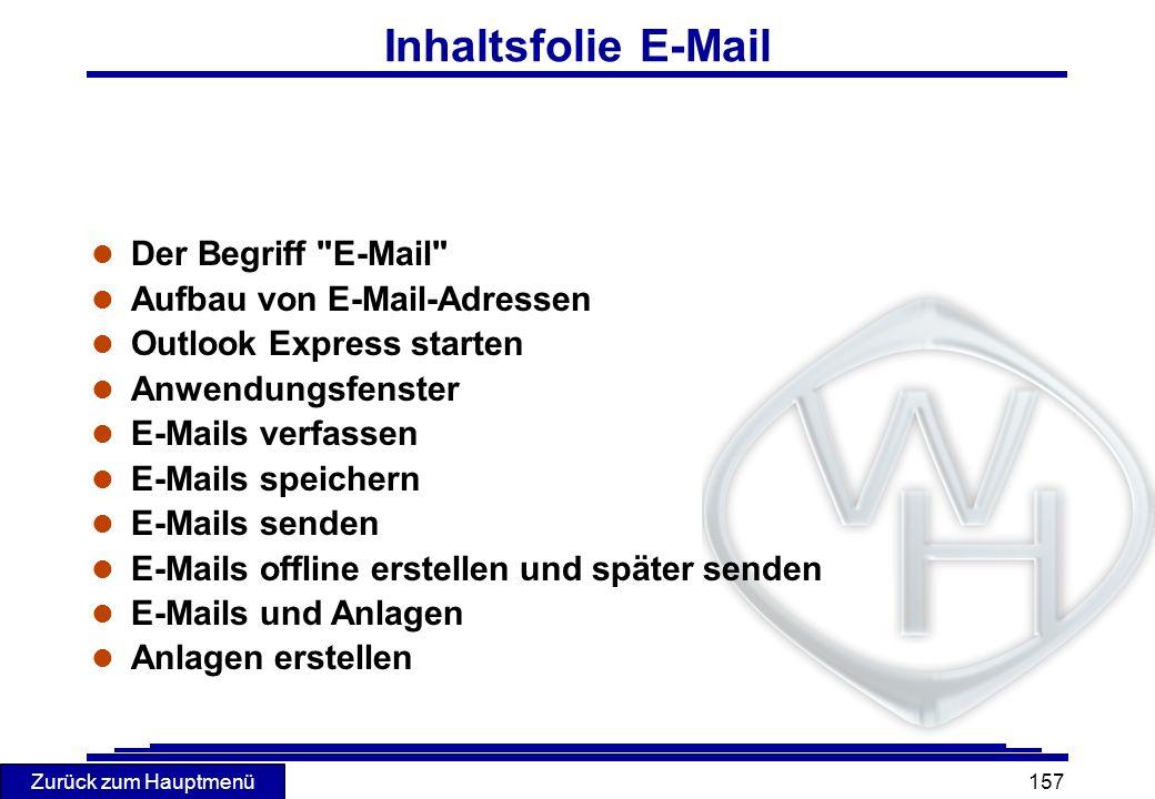 Inhaltsfolie E-Mail Der Begriff E-Mail Aufbau von E-Mail-Adressen
