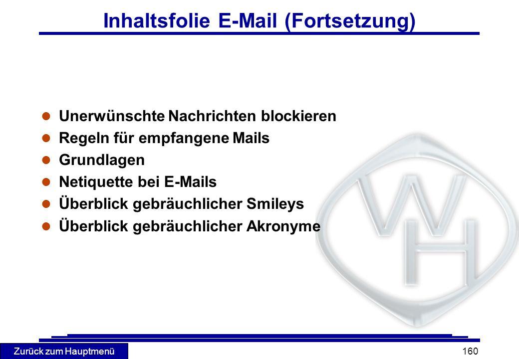 Inhaltsfolie E-Mail (Fortsetzung)