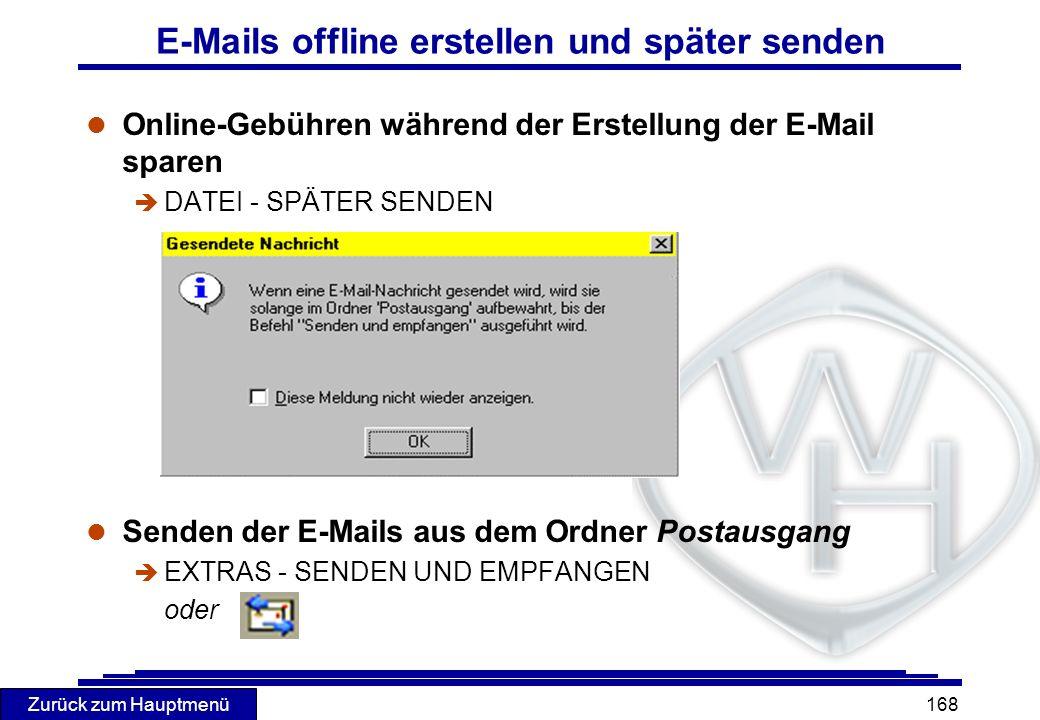 E-Mails offline erstellen und später senden