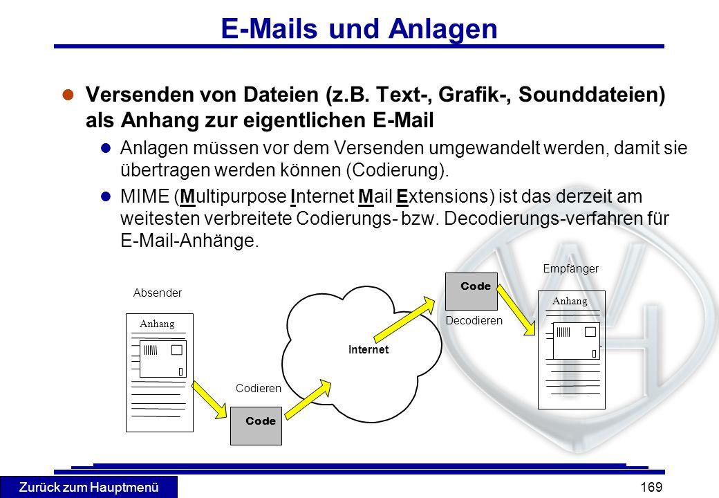 E-Mails und Anlagen Versenden von Dateien (z.B. Text-, Grafik-, Sounddateien) als Anhang zur eigentlichen E-Mail.