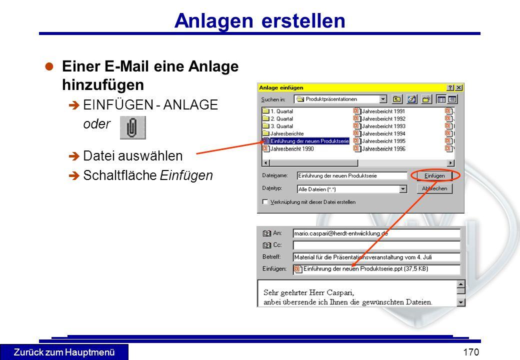 Anlagen erstellen Einer E-Mail eine Anlage hinzufügen