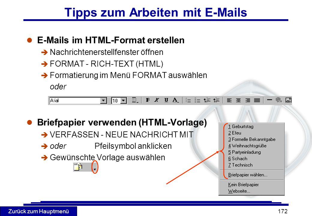 Tipps zum Arbeiten mit E-Mails