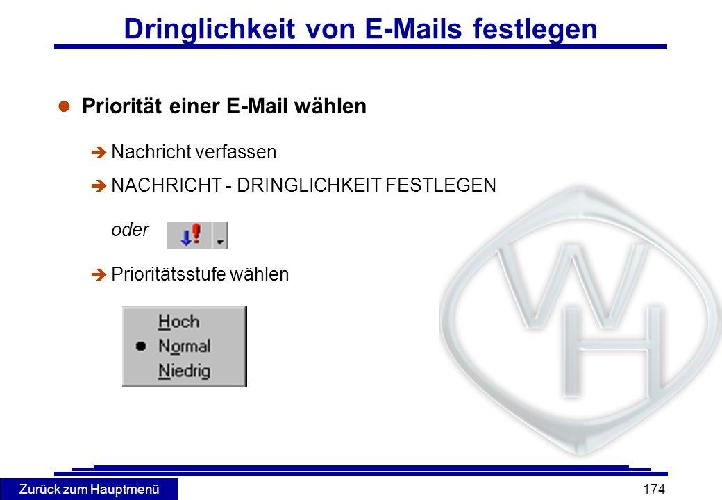 Dringlichkeit von E-Mails festlegen