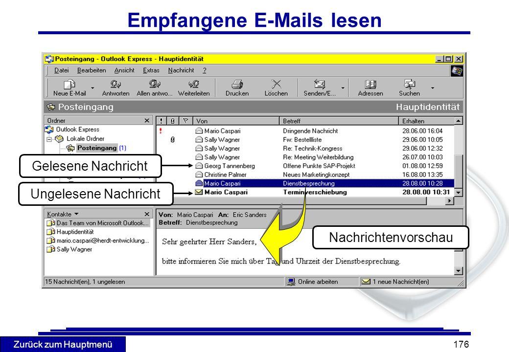 Empfangene E-Mails lesen