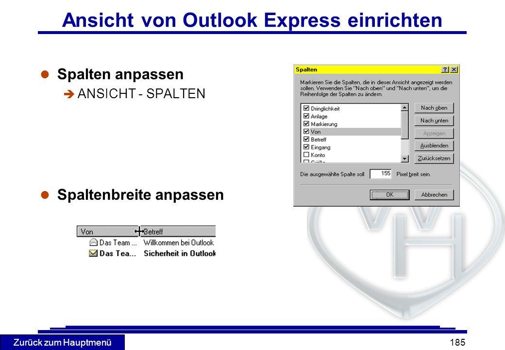 Ansicht von Outlook Express einrichten