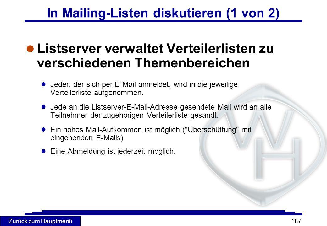 In Mailing-Listen diskutieren (1 von 2)