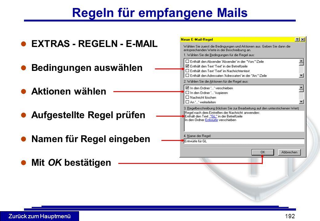 Regeln für empfangene Mails