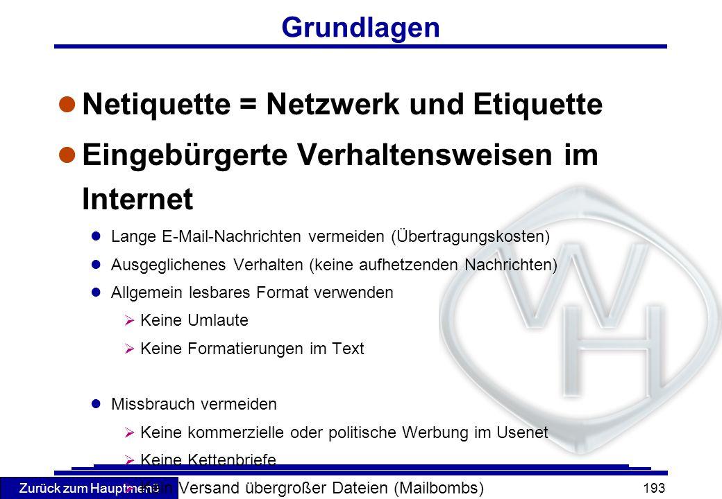 Netiquette = Netzwerk und Etiquette