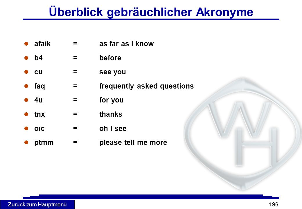 Überblick gebräuchlicher Akronyme