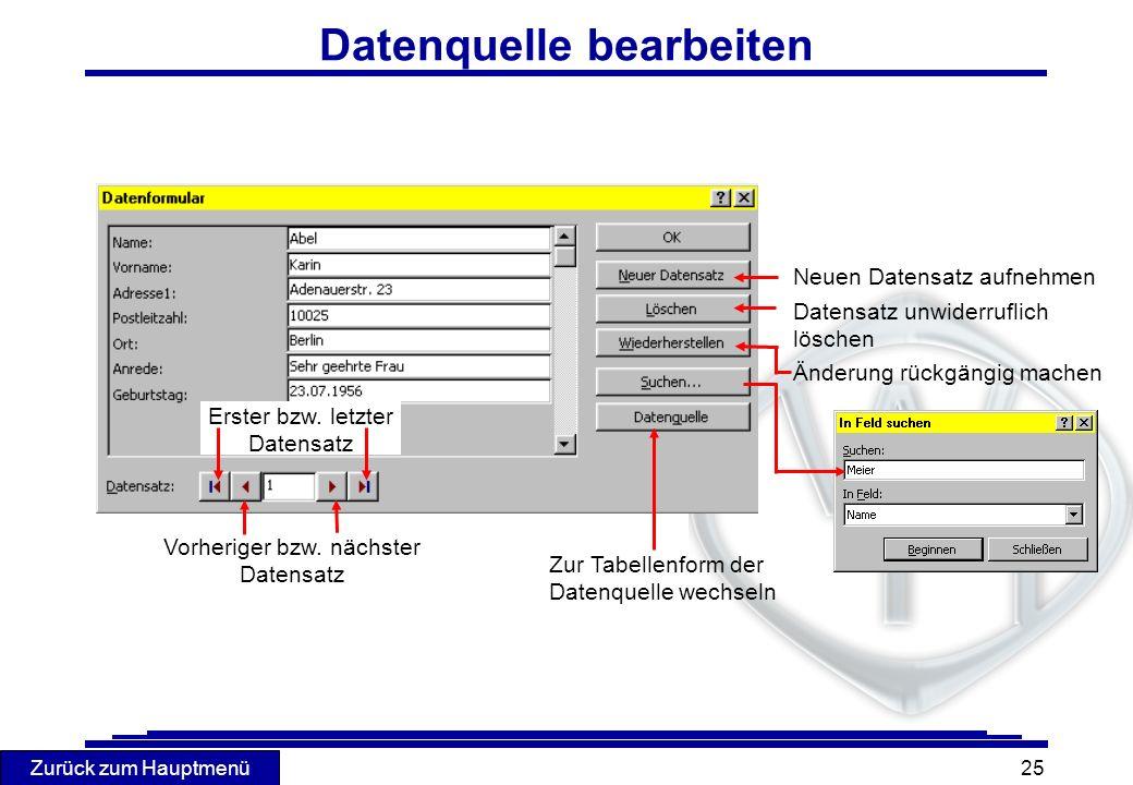 Datenquelle bearbeiten