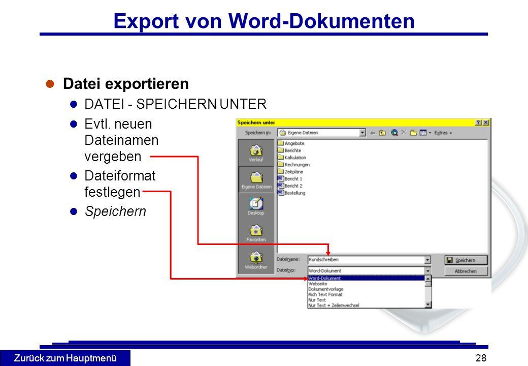 Export von Word-Dokumenten